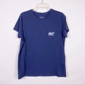 Vineyard Vines Navy Christmas Themed Whale T shirt